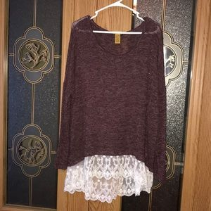 Wrangler long sleeve lace accent on bottom